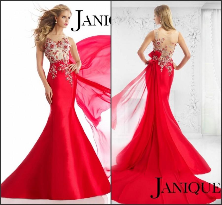 New Style 2015 Red Evening Dresses Janique Pageant Sheer Back Satin ...