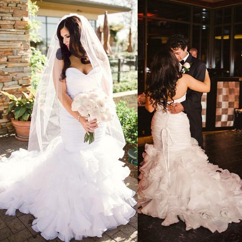 Real image 2015 wedding dresses mermaid sweetheart lace up for True mermaid wedding dresses