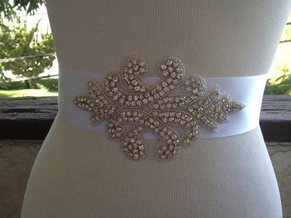 Wedding - Bridal Sash,Rhinestone Appliqué Wedding Sash,Crystal Beaded Sash