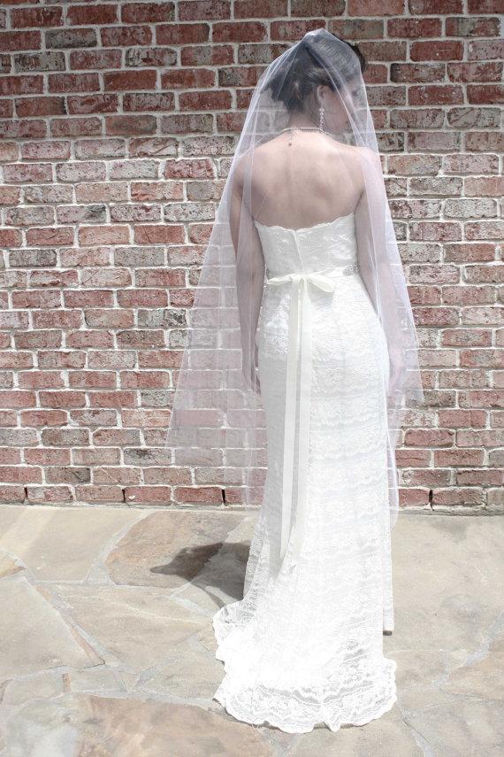 Mariage - Leah** Waltz Length Mantilla Veil, Wedding Veil, Waltz Length Veil, Tulle, Bridal Veil, Ivory, White