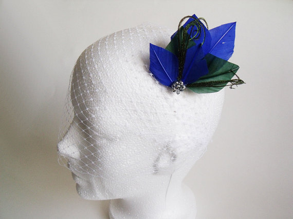 White Birdcage Veil Fascinator - White Birdcage Veil with Blue and Green  Headpiece - Bridal Fascinator - Birdcage Fascinator - Bridal Veil b24d49a3bec