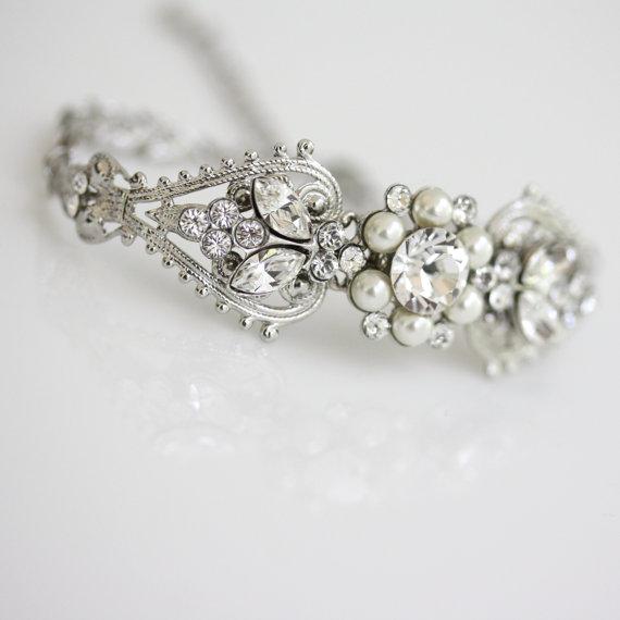 Bridal Crystal Cuff Bracelet Rhinestone Pearl Wedding Silver Filigree Vintage Jewelry Paris