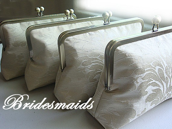 Mariage - Bridesmaids Custom Purses Bags Clutches - Personalized Bridesmaids Gift Set - Customize Your Wedding Bridal Clutch Bag Purse