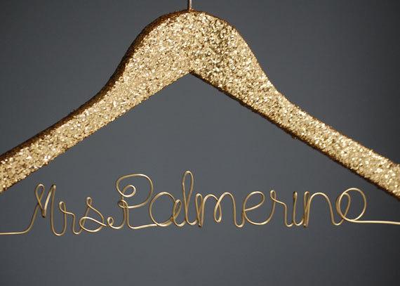 Mariage - Customized Gold Glitter Bridal Hanger/Wedding Hanger