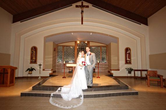 Wedding - Wedding veil in Cathedral length in Spanish style, wide Cathedral mantilla bridal veil with luscious lace edge with beaded lace & sequences
