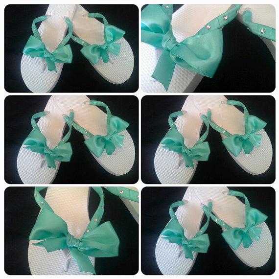 Boda - 9 Tiffany blue bridal/bridesmaid flip flops lot of 9 bridesmaid flip flops. rhinestone flip flops