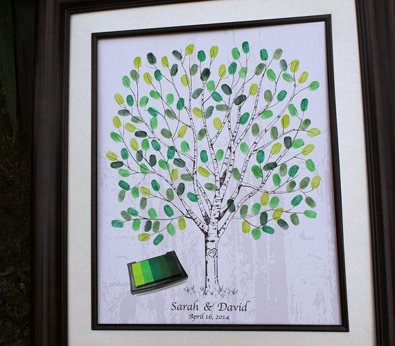 Thumb Print Wedding Tree Fingerprint Guest Book Alternative Unique Ideas Personalized Gift Thumbprint