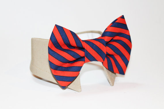 Mariage - dog bow tie- shirt and bow tie collar-  wedding dog tie- cat tie- pet tie- striped bow tie-red orange and navy