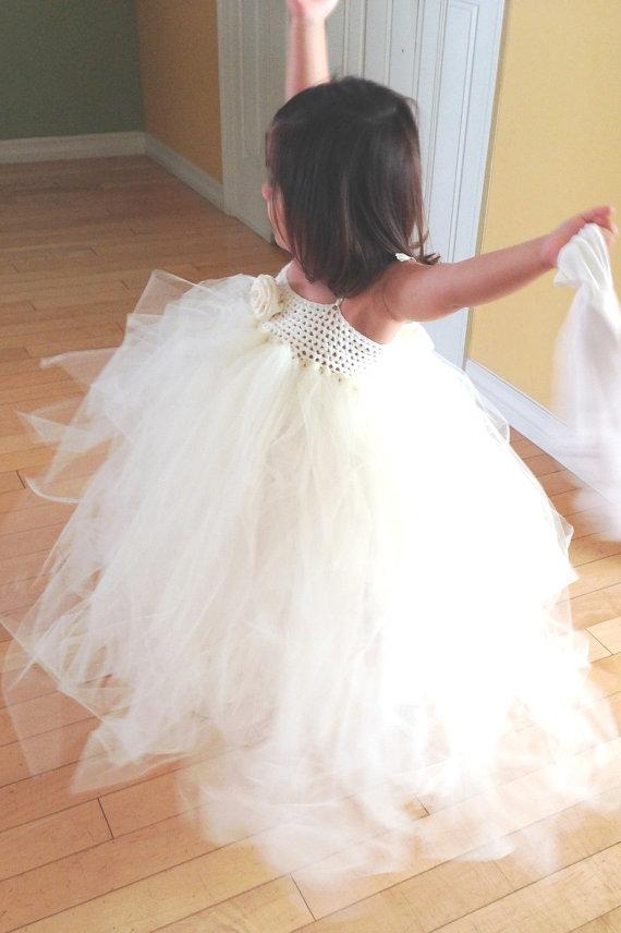 Mariage - Flower Girl Dress, Flower Girl, Tutu Dress, Flower Girl Tutu, Tulle Dress, Ivory Flower Girl Dress, Tulle Tutu Dress, Crochet Dress, Wedding