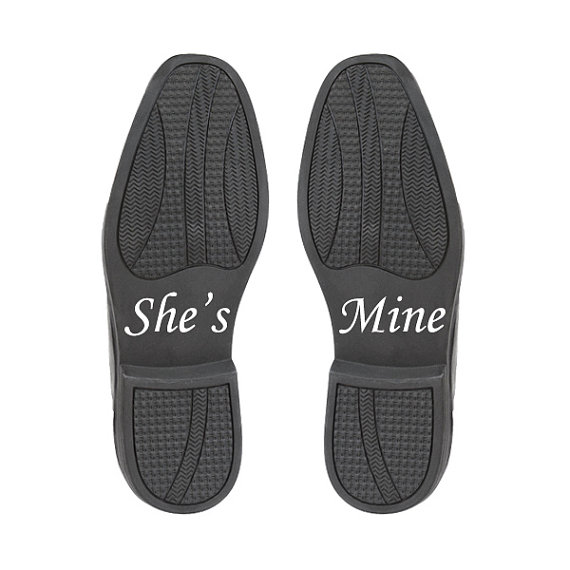 Hochzeit - She's Mine Shoe Stickers - Wedding Accessory for the Groom - Wedding Day Vinyl Shoe Decals