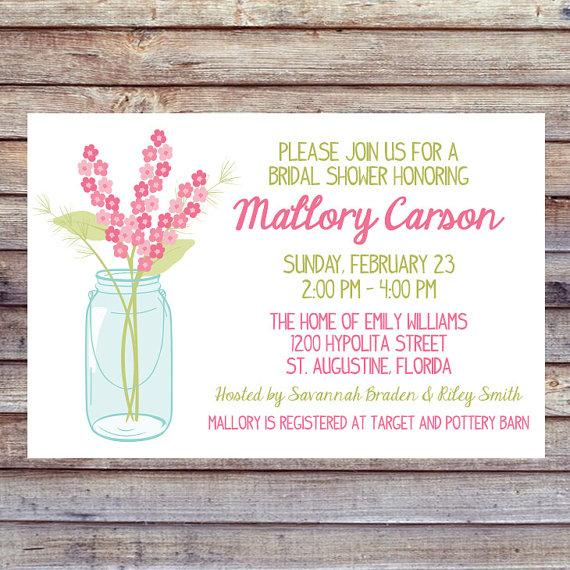 Wedding - Rustic Wedding Shower Invitation - Mason Jar Shower Invitation - Vintage Wedding Shower - Printable Invitation - Wedding Shower
