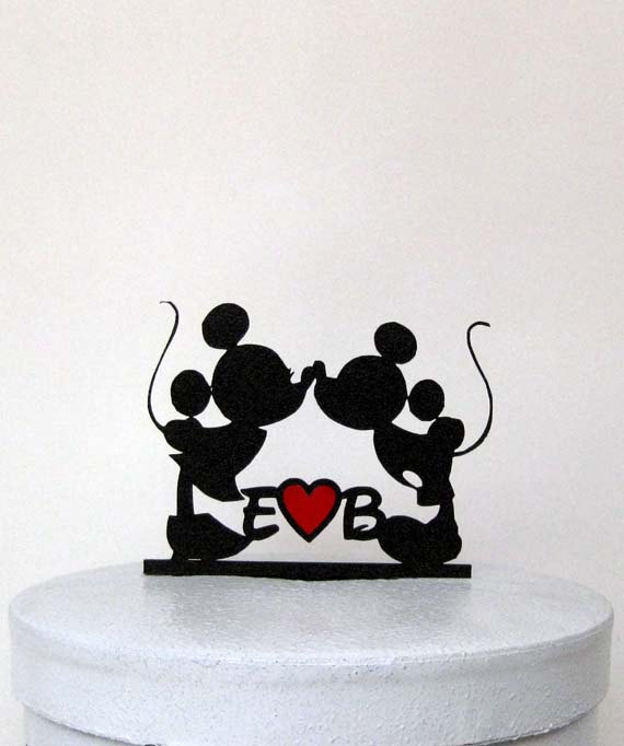 Свадьба - Custom Wedding Cake Topper - Mickey and Minni Wedding with your initials