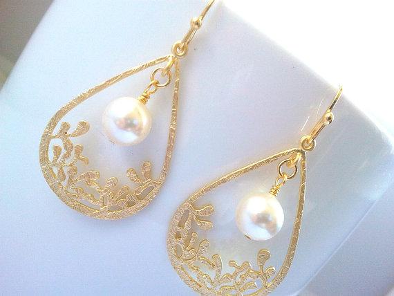 زفاف - Flower Garden Pearl Wedding earrings, dangle Earrings, Chandelier, Drop earrings, Bridal Jewelry, Bridesmaid Gift, Statement, Christmas Gift