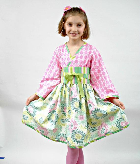 زفاف - SALE, Girls Pink Kimono Dress, Asian Kimono,  Girls Clothing, Kimono, Asian Style Kimono, Flower Girl Dress, pink dress, size 7