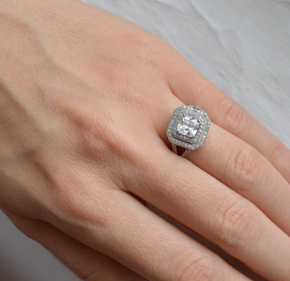 Wedding - Double Halo Ring - Princess Cut Engagement Ring - Silver Promise Ring - Ornate Art Deco Ring - Stunning Silver Ring - Estate Ring