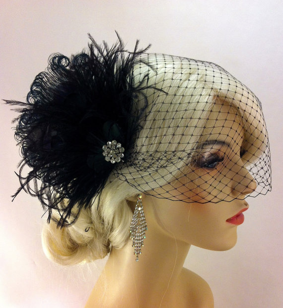 Свадьба - Bridal Feather Fascinator, Bridal Fascinator, Bridal Headpiece, Bridal Hair Accessories, Bridal Veil