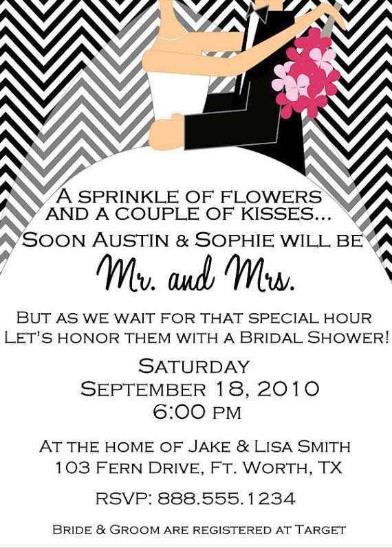 Свадьба - Custom Digital Chevron Bridal Wedding Shower Invitation Couples Personlized YOU PRINT Invite Bride Groom You Pick Colors