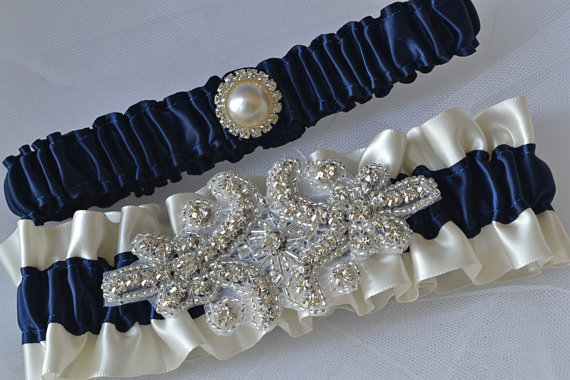 Wedding - Wedding Garter Set - Navy Blue Garters And Ivory Satin With Rhinestone Embellishments, Garter Belts, Bridal Garter Set
