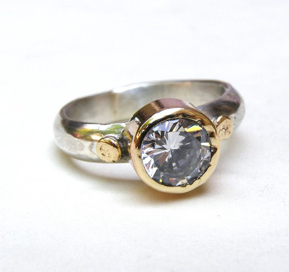Handmade Engagement Ring - Fine 14k Gold Ring Silver Ring Gemstone White Topaz Stone Ring ...