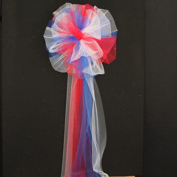 Red white blue tulle wedding pew bows church ceremony - Red white blue decorations ...