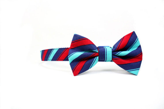 Свадьба - Red Blue Striped Dog Bow Tie Collar Set, Wedding Dog Bowtie Collar, Maroon Turquoise Stripes Dog Collar