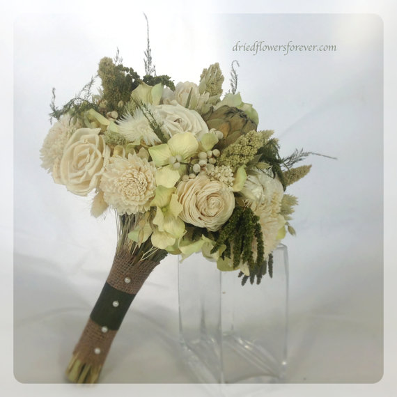 woodland moss collection bridal bouquet natural dried