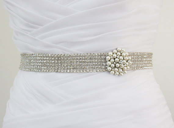 Mariage - IVANA - Exquisite 6 Rows Crystal Rhinestone and Pearl Bridal Sash, Bridal Beaded Belts, Rhinestone Wedding Sash, Rhinestone Beading Belt