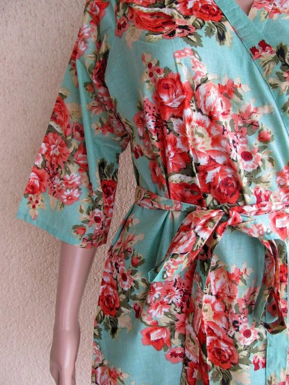 Wedding - Mint Green Floral Kimono Robe - Makes pretty pictures on wedding day - Gifts for bridesmaids