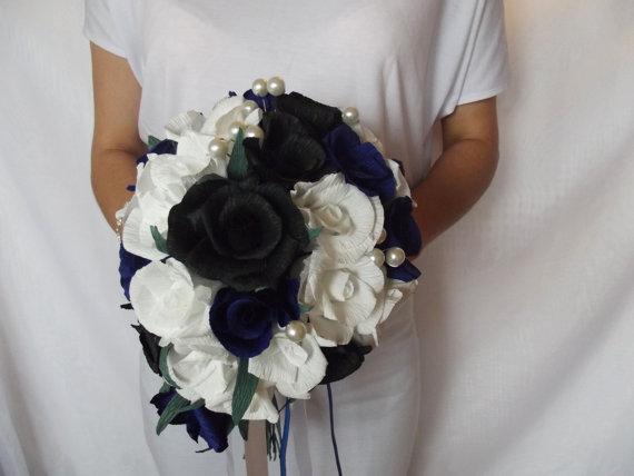 Wedding - Wedding bouquet,bridal bouquet,paper flower bouquet,paper flower,roses black, navy blue, white,paper roses,flower paper roses.