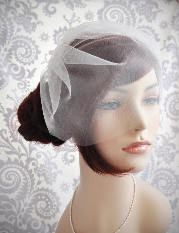 Свадьба - Ready to Ship - Ivory Wedding Veil - Bridal Veil, Birdcage Veil ivory, Tulle Birdcage Veil, Blusher Veil - Ready to to Ship Veil - 100V