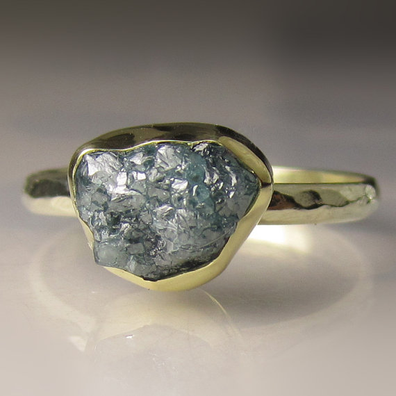 Свадьба - Rough Blue Diamond Engagement Ring, 18k and 14k Gold, 2.50CTS