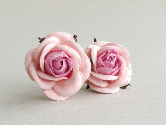 50mm Blush Pink Paper Roses 2psc Mulberry Paper Flowers With