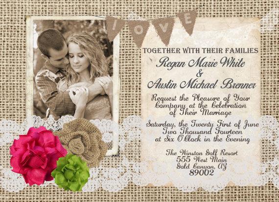 Burlap And Lace Fuchsia And Apple Green Wedding Invitation Rustic
