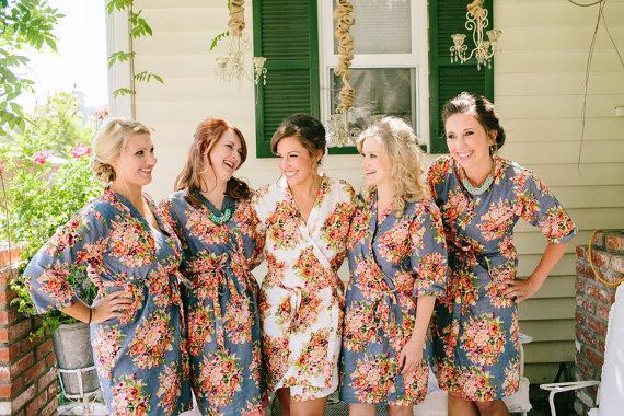 Gray Bridesmaids Robes Sets Kimono Crossover Robe