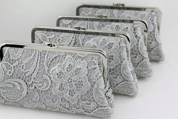 Wedding - Grey Lace Bridesmaid Clutches / Lace Wedding Clutches / Wedding Gift / Bridal Clutch Set - Set of 5