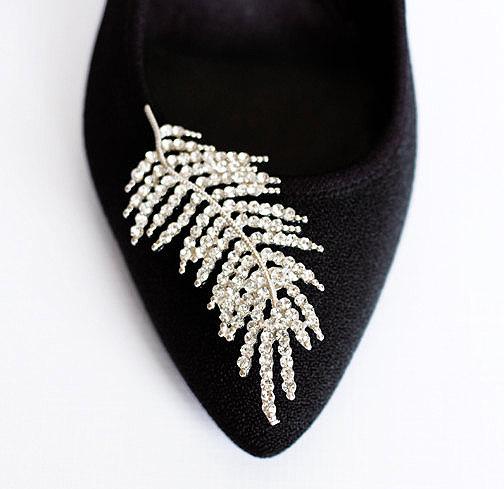 Wedding - Bridal Shoe Clips Crystal Rhinestone Shoe Clips Feather Wedding Party (Set of 2) SC015LX