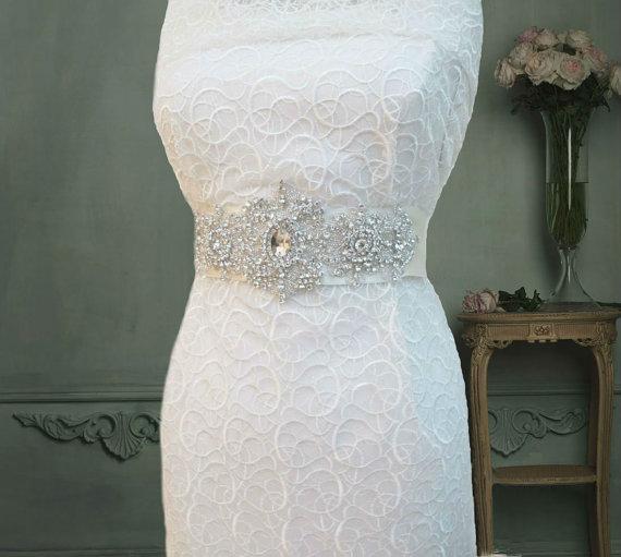 Wedding - Rhinestone Crystal Beaded Bridal Wedding  Belt