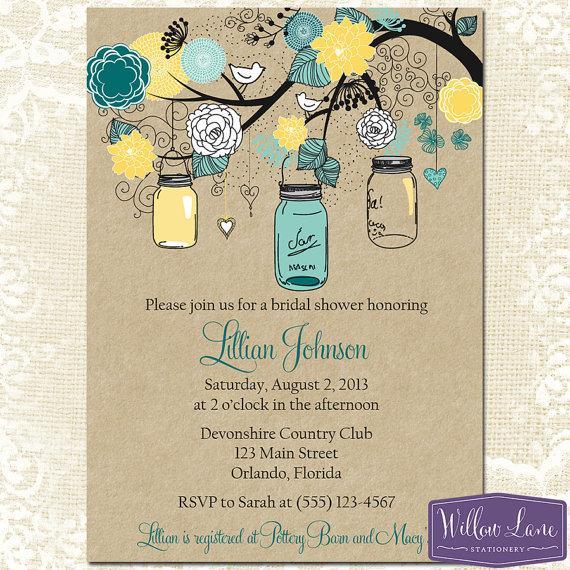 Hochzeit - Mason Jar Bridal Shower Invitation - Mason Jar Bridal Shower Invite - Kraft Yellow Turquoise Mason Jar Wedding Shower Invite -1314 PRINTABLE