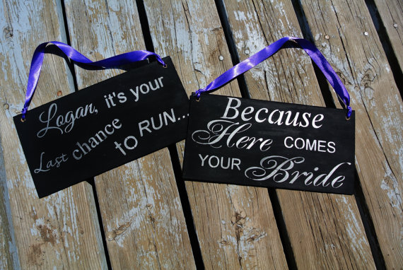 Wedding Signs Set Of 2 Lot Custom Sign Uncle Last Chance To Run Because Here Comes Your Bride Colors Black Silver Purple Plum