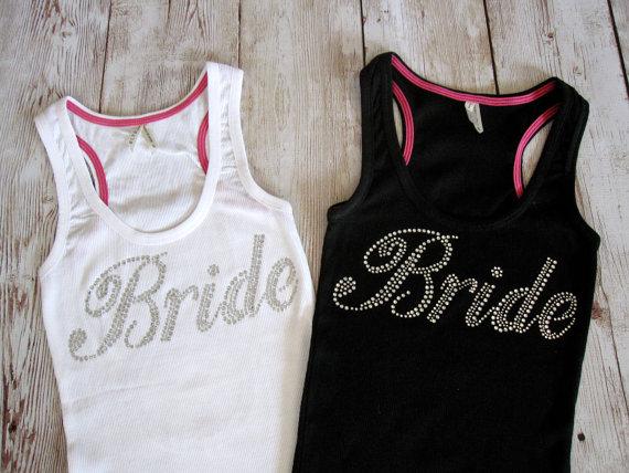 Mariage - Bride Tank Top Shirt. Rhinestone Wedding Bridal Party Shirts. Bridesmaid -  Maid of Honor