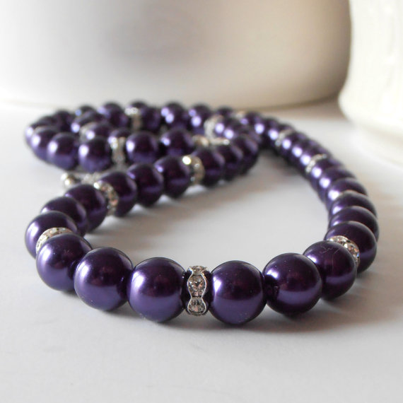 Mariage - Wedding Jewelry, Dark Purple Pearl Necklace, Bridesmaids Necklace, Lapis Bridal Sets, Beaded Pearl Strand, Silver