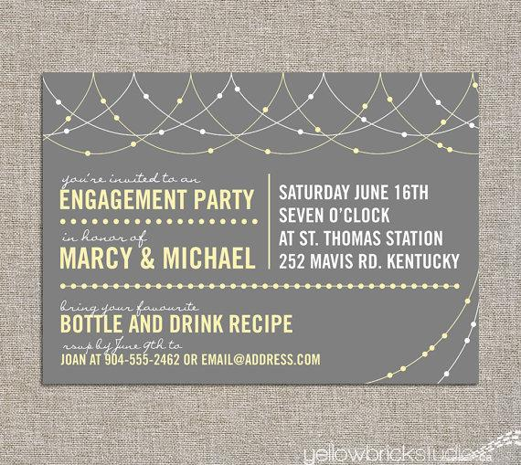 Wedding - engagement party invitation - light strings - DIY printable file by YellowBrickStudio