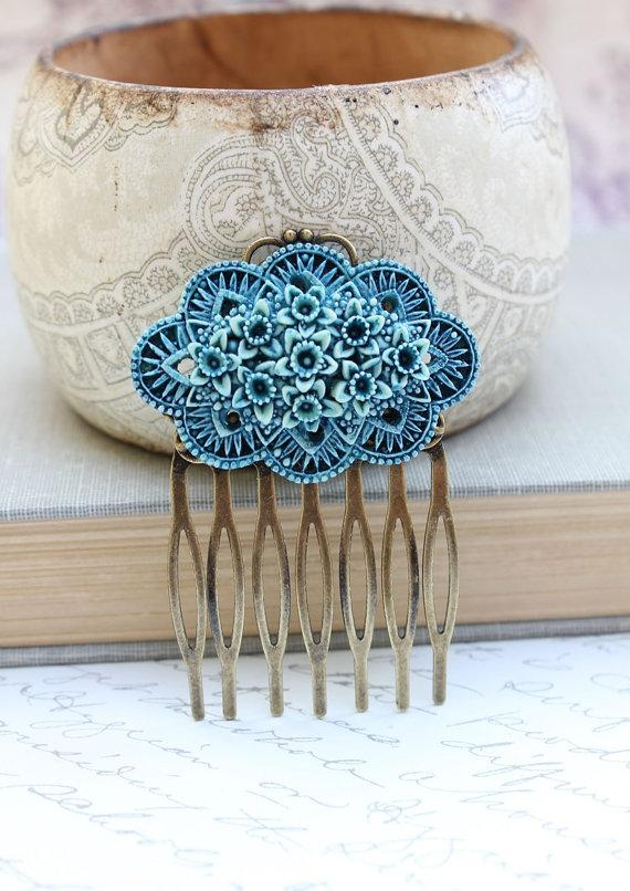 Свадьба - Flower Hair Comb, Teal Blue Daffodil, Vintage Style, Shabby Chic Floral, Bridal, Something Blue, Wedding, Easter, Spring Hair Accessories