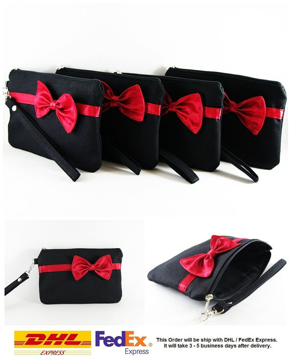 Mariage - SUPER SALE - Set of 5 Black with Little Red Bow Clutches - Bridal Clutches, Bridesmaid Wristlet, Wedding Gift, Zipper Pouch - Made To Order