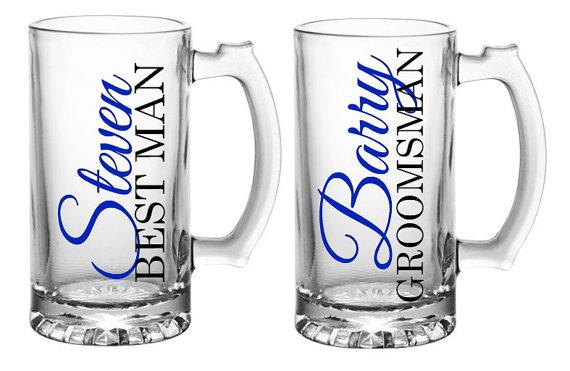 Mariage - Personalized Groomsmen Mugs, Groomsmen Beer Mugs, Grooms Mug, Groomsmen Gift, Best Man Gift