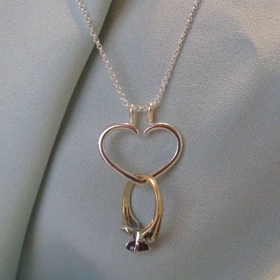 Heart Engagement Ring Holder Necklace Charm Pendant Sterling Silver