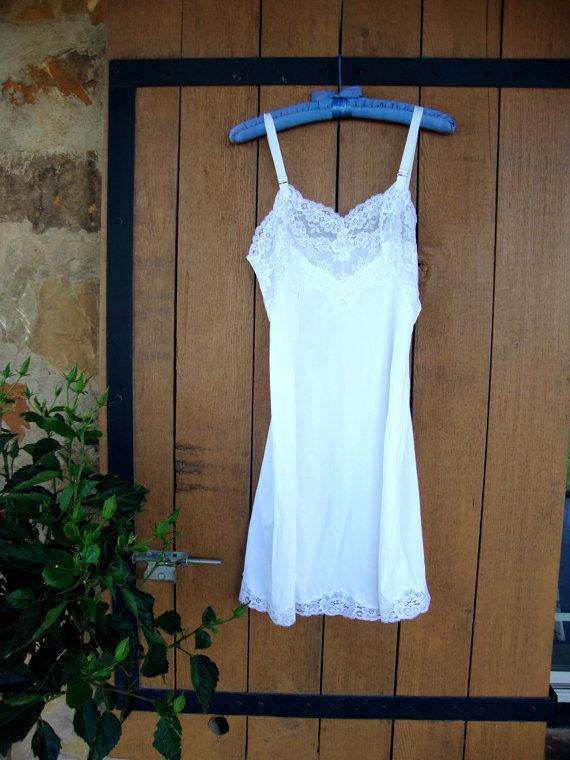 Wedding - Full slip 40s 50s white lacy lingerie