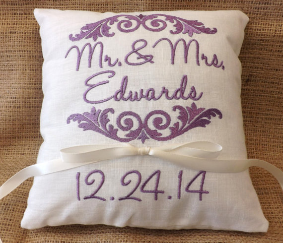Monogram Wedding Ring Bearer Pillow: Ring Bearer Pillow, Mr & Mrs. Ring Pillow, Wedding Pillow