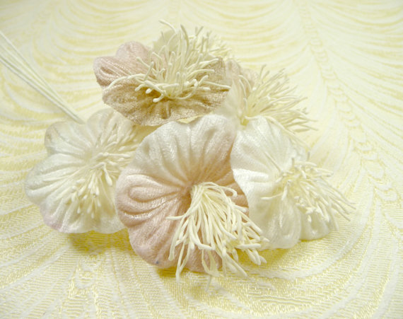 Wedding - Velvet Millinery Flowers Seashell Pearl Ivory Blush Poppies Yo Yo for Hats, Fascinators, Bridal Bouquets, Weddings