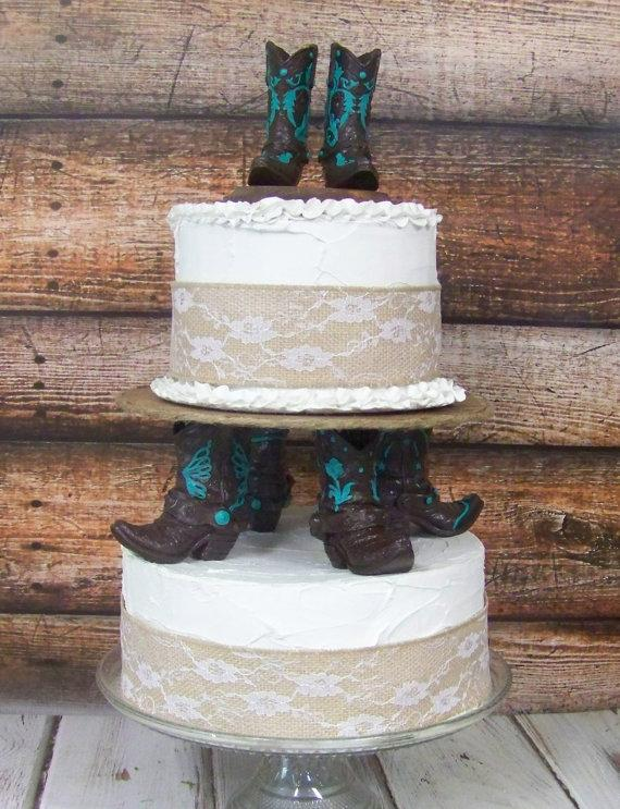 Wedding - Rustic Cake Topper-His and Her Western Cowboy Boots-Wedding Cake Topper-Barn Wedding